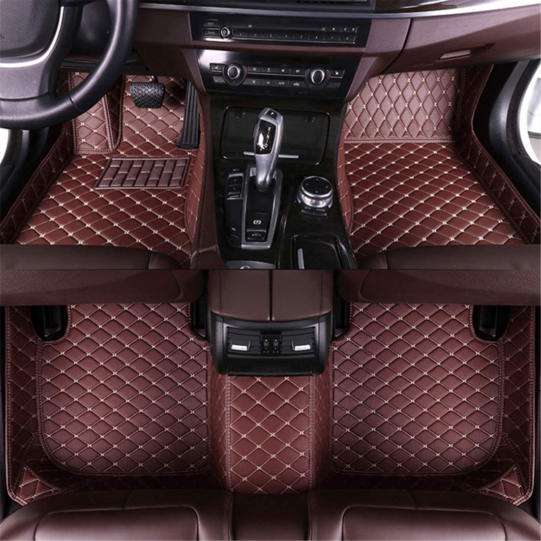 Muchkey car Floor Mats fit for Lincoln MKC 2013-2019 Full Coverage All Weather Protection Non-Slip Leather Floor Liners Black-Beige