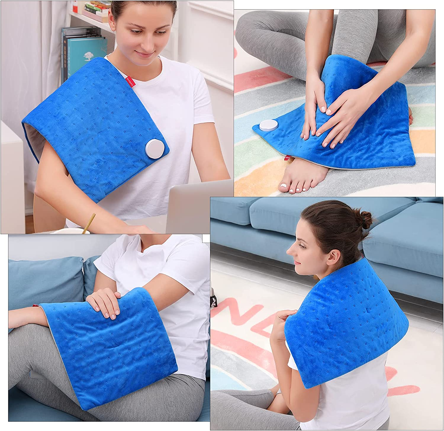 Heating Pad, Comfytemp Electric Heating Pad for Back Pain Relief, 12 x 24In XL Soft Heat Pad - 9 Heat Levels, 11 Timers with Countdown, Stay on, Backlight for Neck, Shoulders, Cramps, Machine Washable
