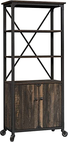 Sauder 423975 Steel River Bookcase with Doors, Carbon Oak Finish