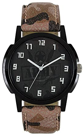 R.B.Eenterprise Stylish Analog Round Dial with Leather Belt Wrist Watch for Men's Army Watch
