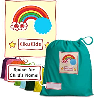 TURQUOISE Kiku Kids Drawstring Bags, Lunch, Gym, P.E, Nursery, School, Books, Nappies, 100% Cotton, Personalise Name Label, Made in U.K