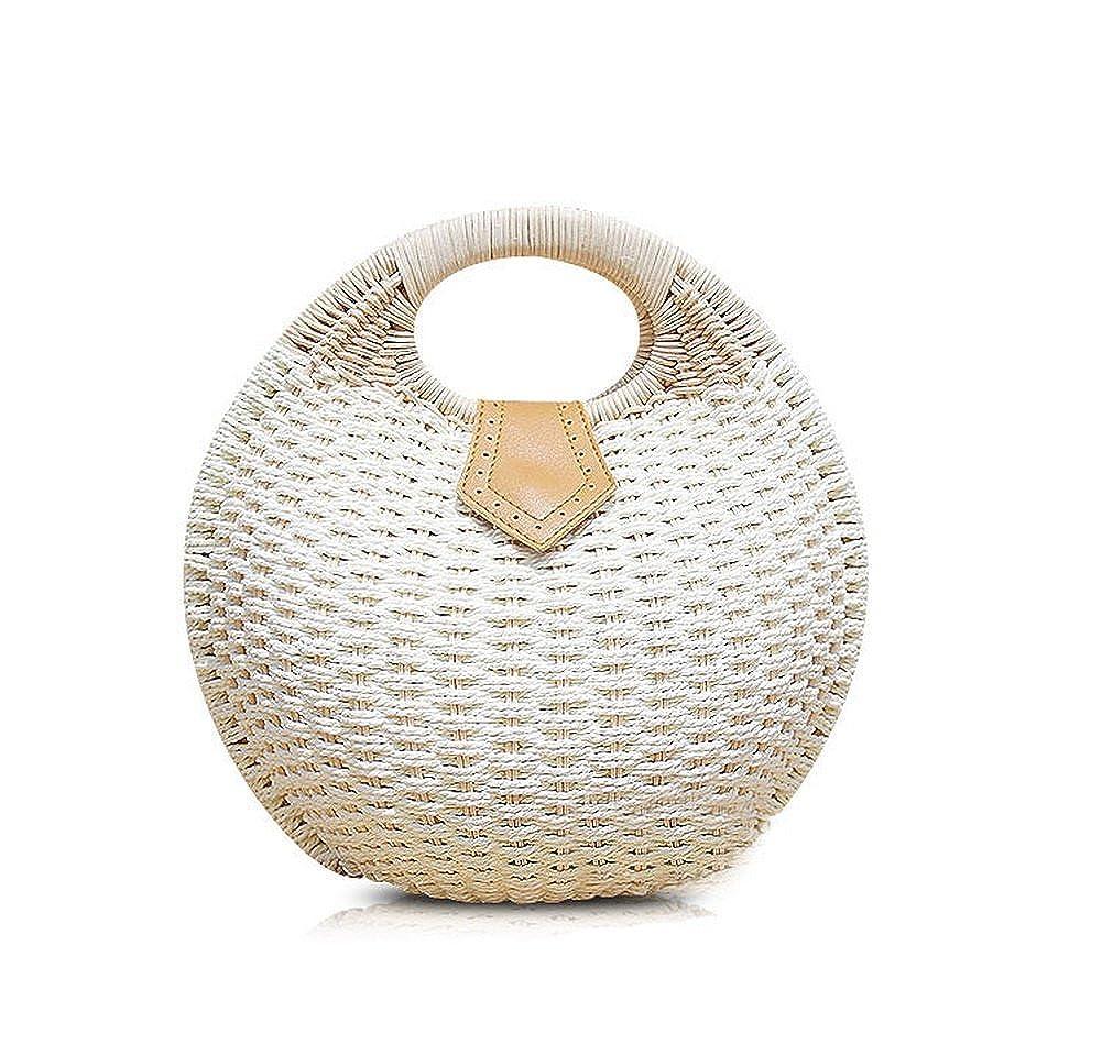 b752ca7c41 Amazon.com  Cute Rattan Straw Tote White Round Tote Bag