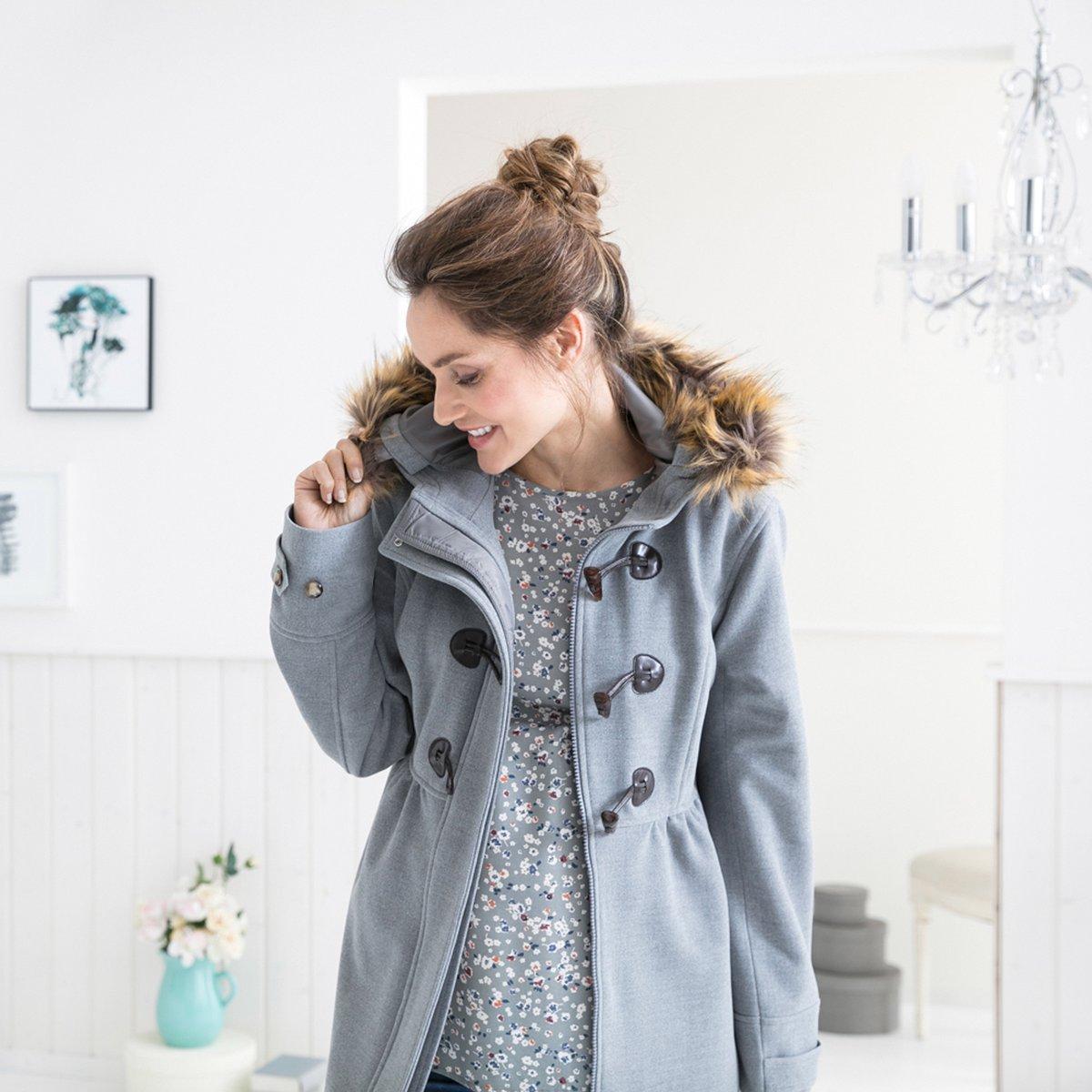 grau 2HEARTS Umstands-Mantel Romantic Duffle Coat mit Fake Fur schicker Mantel f/ür die Schwangerschaft
