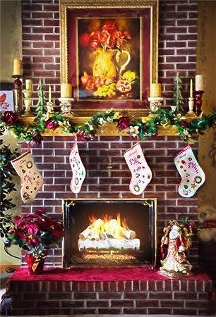 ofila 5 x 7ft fotografía Navidad telón de fondo de Navidad calcetines de Papá Noel decorativos