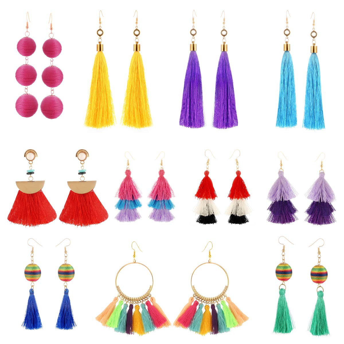 11 Pairs Colorful Long Layered Thread Ball Dangle Earrings Yellow Red Turquoise Tassel Hoop Fringe Bohemian Tiered Tassel Drop Earrings Soriee Stud Earrings Gift Set for Girls Women luoyue B07FS2KZJ5_US