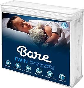Bare Home Twin Size Premium Mattress Protector - 100% Waterproof - Vinyl Free Hypoallergenic - 10 Year Warranty - (Twin, White)