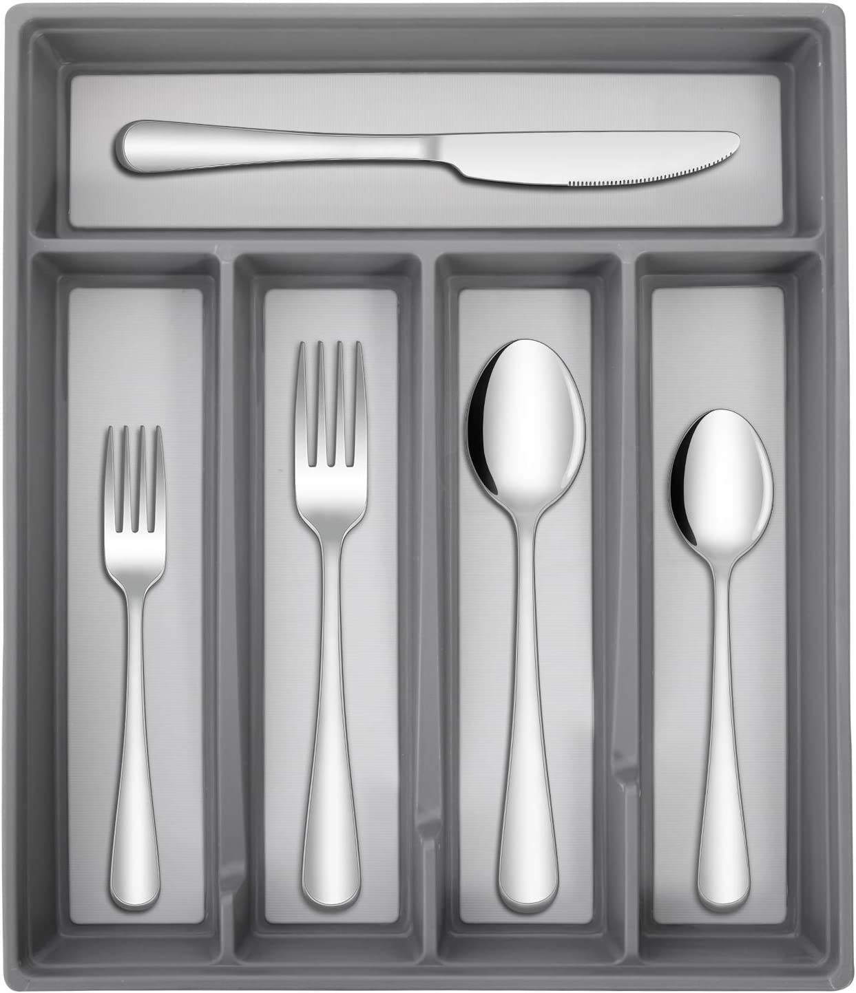 Hiware 20-Piece Silverware Flatware Set with Organizer Service for 4, Stainless Steel Cutlery Utensil Set Includes Forks Knives Spoons, Dishwasher Safe