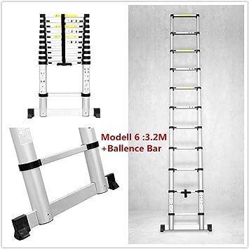Fixkit 3.2M Escalera Telescópica de Aluminio Portátil Multiuso Escalera Telescópica con Barra de Balance Folding Ladder Carga de 150 KG (9.6FT, Extensible): Amazon.es: Bricolaje y herramientas