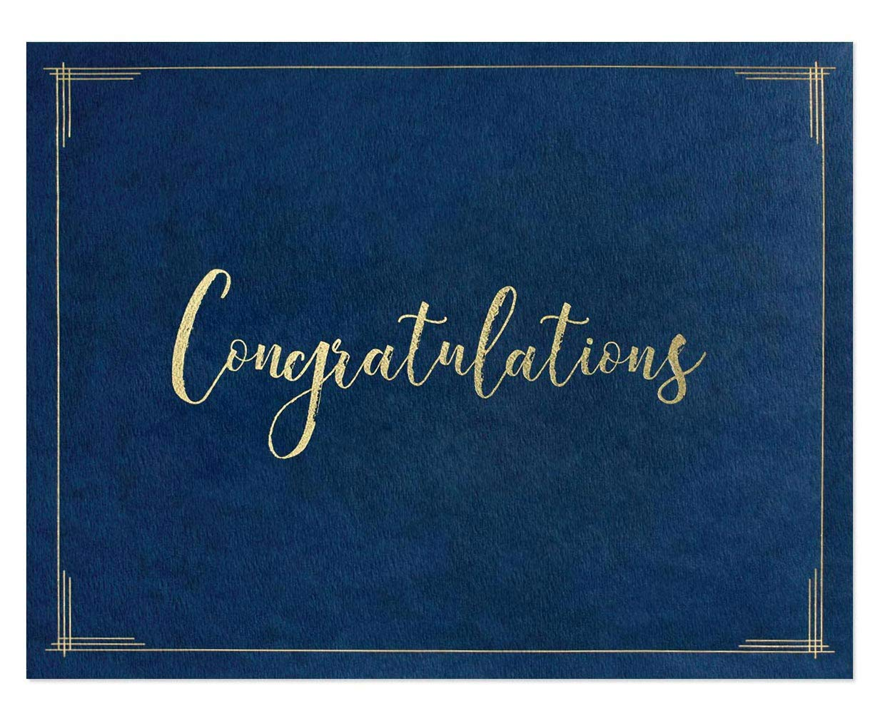 Congratulations Certificate Jackets, 9 Inches x 12 Inches Folded, Blue with Gold Foil, 50 Count by PaperDirect