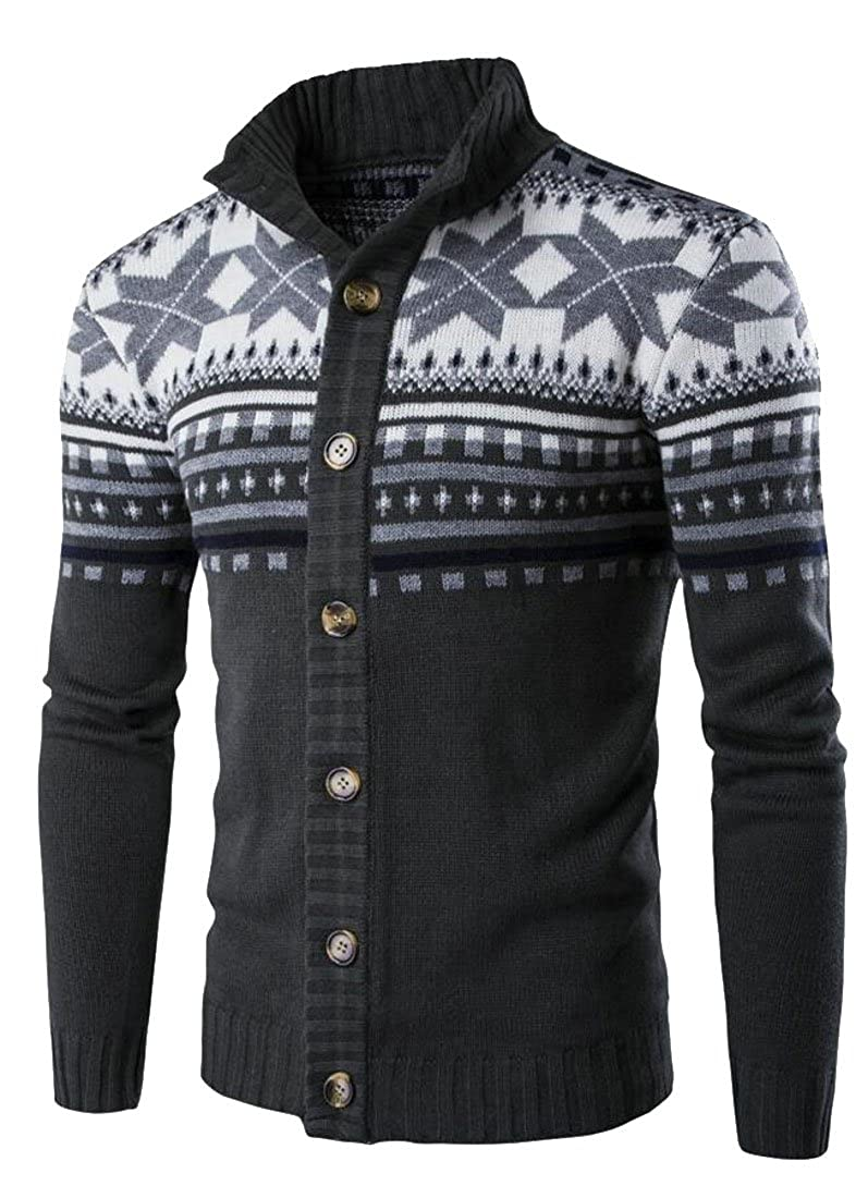 ouxiuli Mens Classic Long Sleeve Button Up Thicken Ethnic Style Knit Cardigan