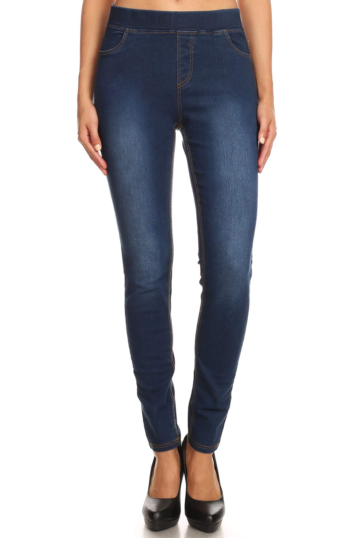 Women's High Waisted Stretchy Pull-On Skinny Denim Jeans Jegging Pant (Large, Dark Blue)
