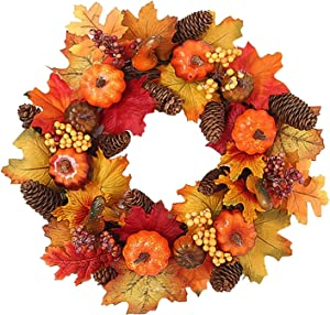 Didihou Fall Wreath, 15 inch Artificial Fall Wreath for Front Door, Halloween Wreaths with Pumpkins, Pinecone, Maple Leaf and Berry, Halloween Easter Wreath, Thanksgiving Day Indoor or Outdoor Decor