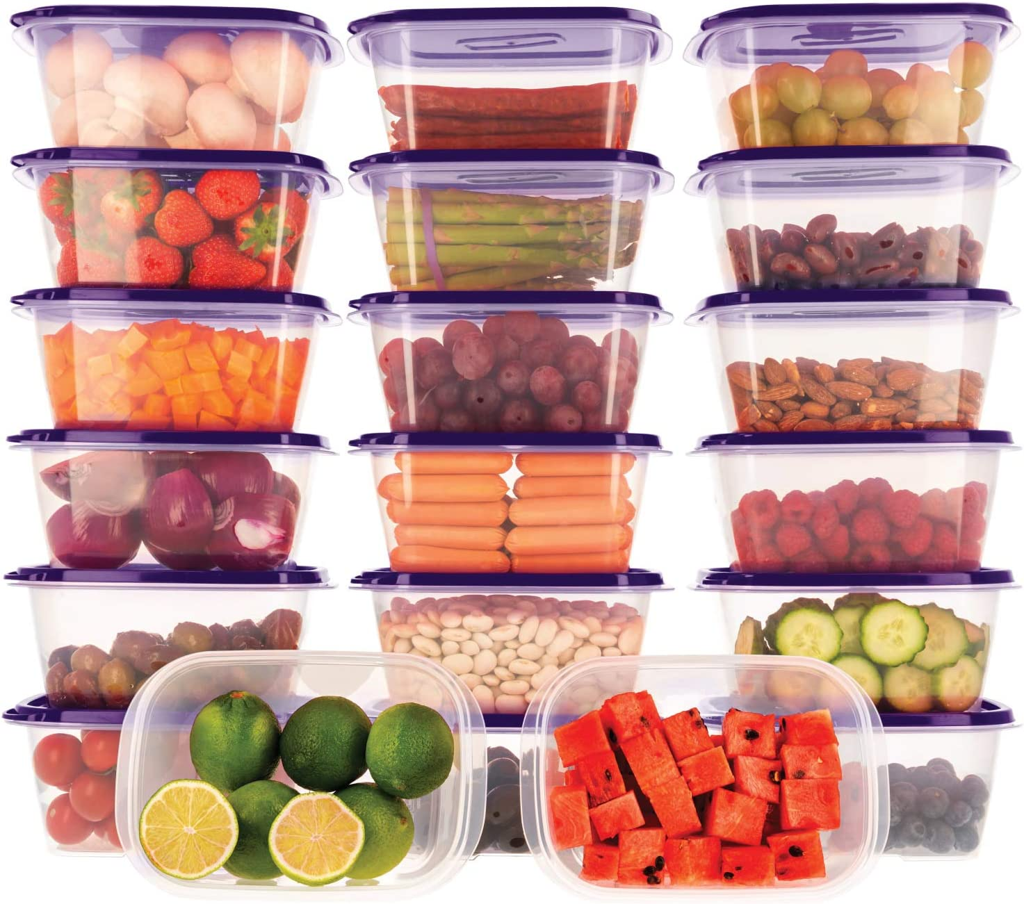 Oursson Food Storage Containers with Lids Airtight, BPA Free, Lunchbox – Reusable and Practical – Transparent Snack Containers with Colored Lids (20 x 34 oz, Purple)
