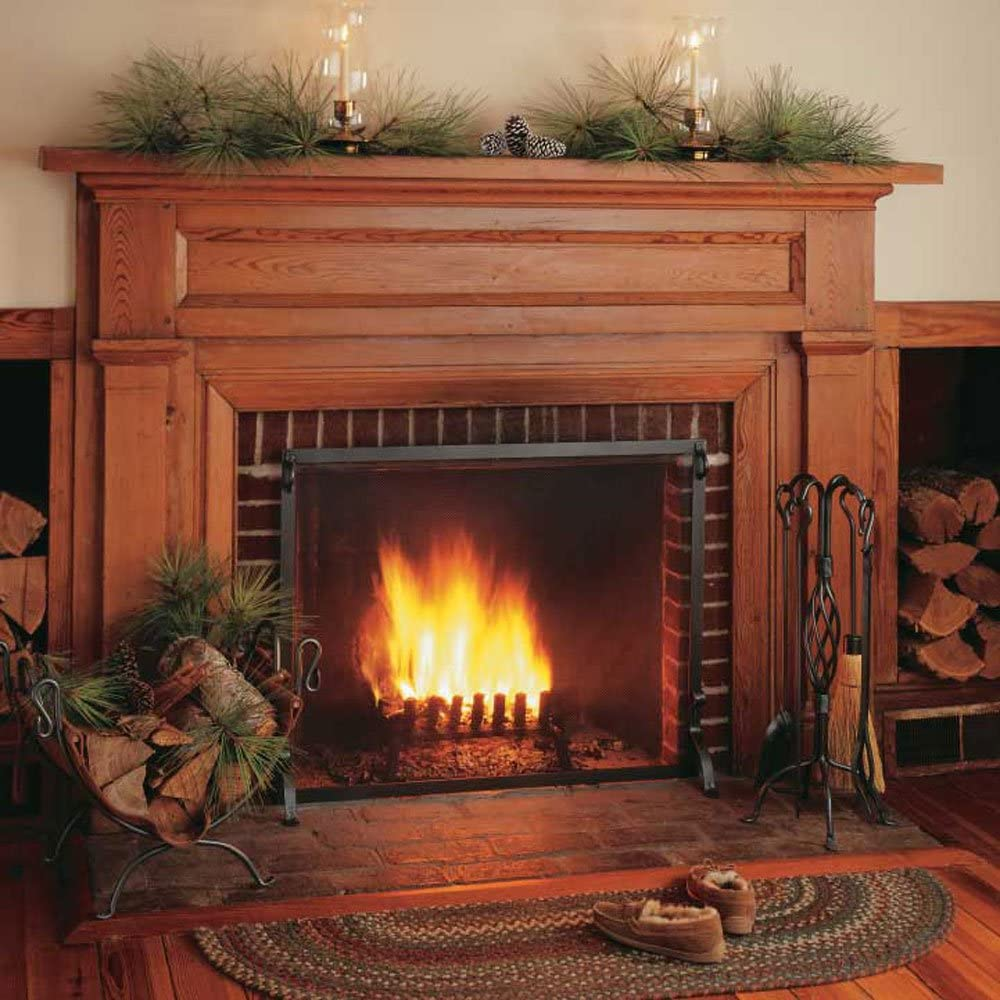 39/″W x 31/″H 22 lbs Pilgrim Home and Hearth 18282 Forged Single Panel Fireplace Screen Vintage Iron