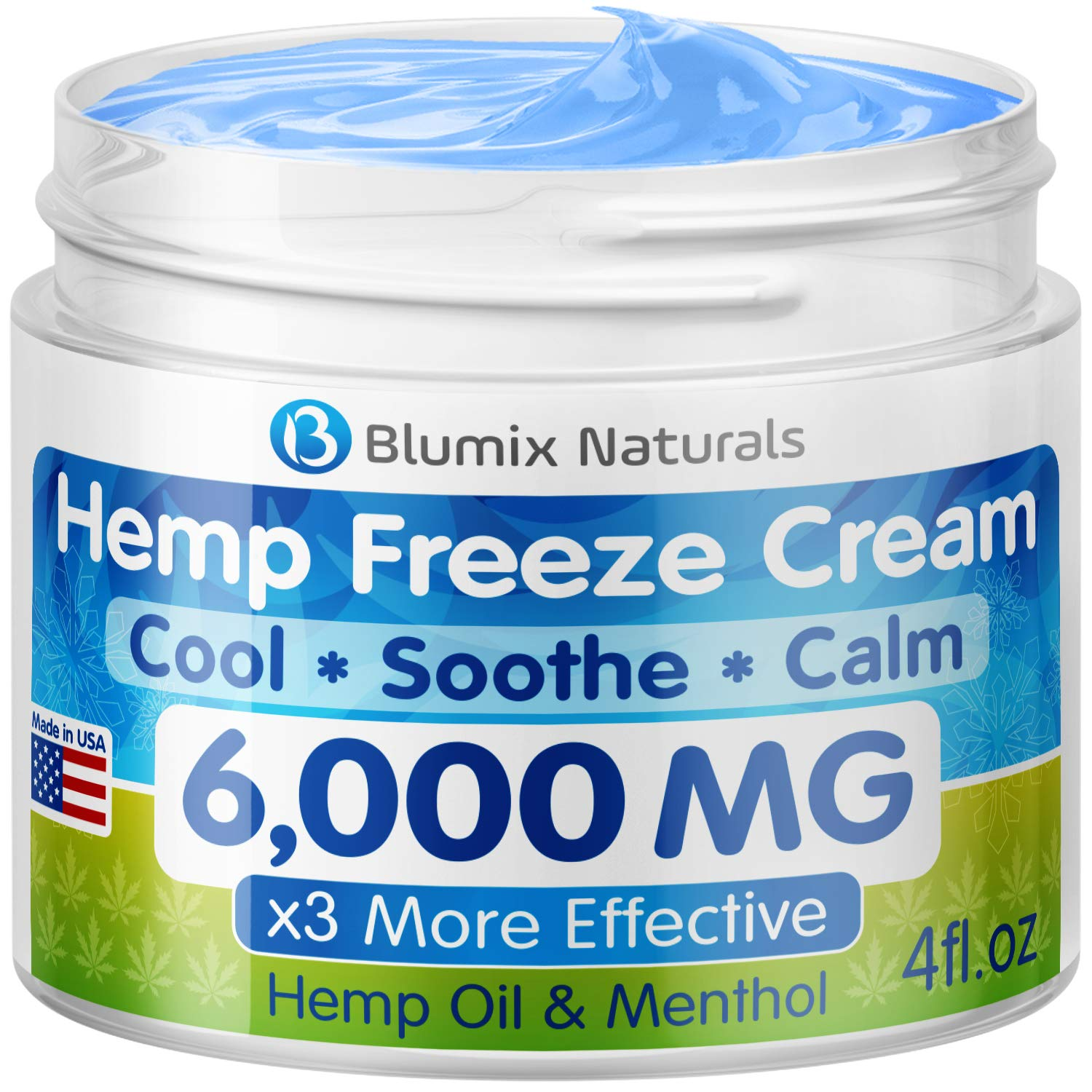 BLUMIX Hemp Cream for Pain Relief 6000 mg - Made in USA - Hemp Oil & Menthol Blend - Cooling & Soothing Effect - for Inflammation, Joint, Back, Knee, Nerves Pain & Sore Muscles - Natural Hemp Extract by BLUMIX-Naturals