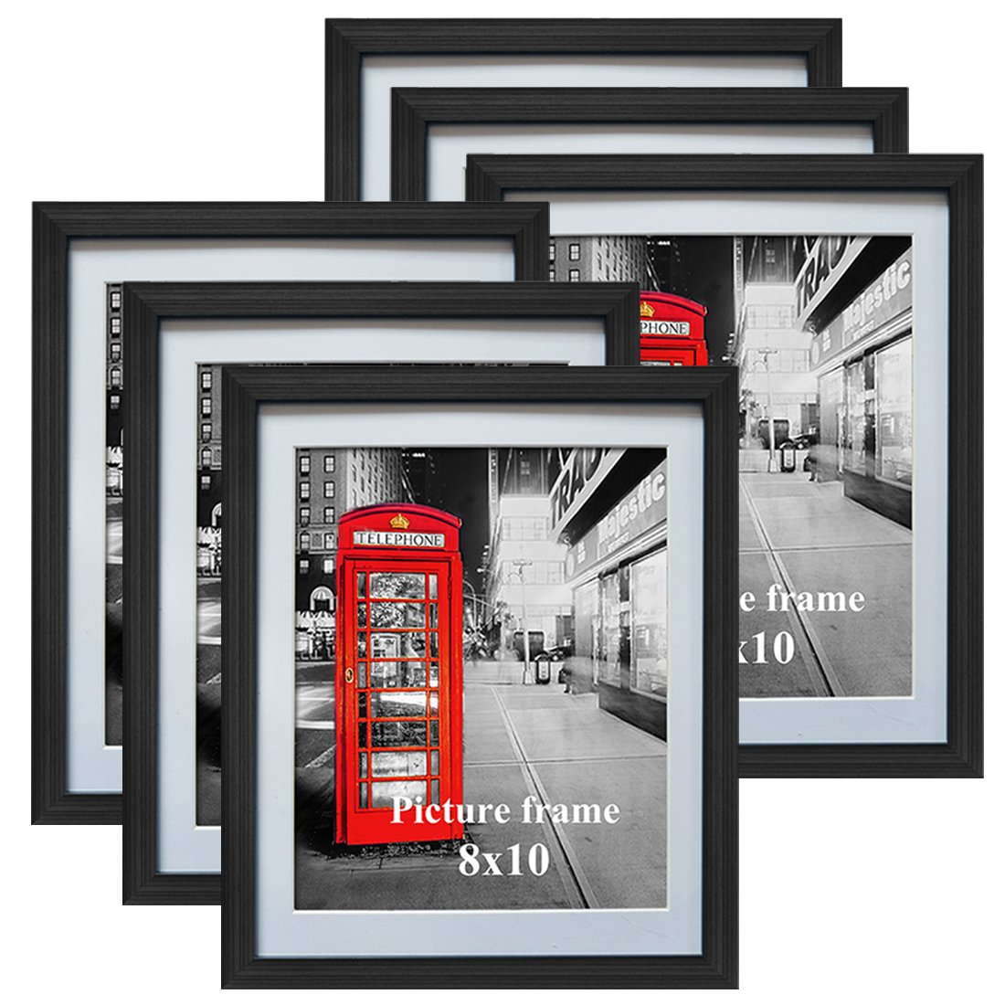 8x10 Black Picture Frames with Mat for Wall or Table Top Decoration, Set of 6 by Amazing Roo