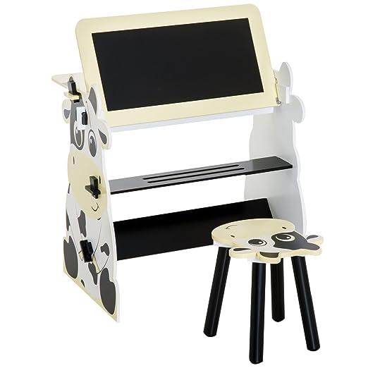Homcom Set Tisch Und Stuhl Für Kinder Holzmöbel Aufklappbare