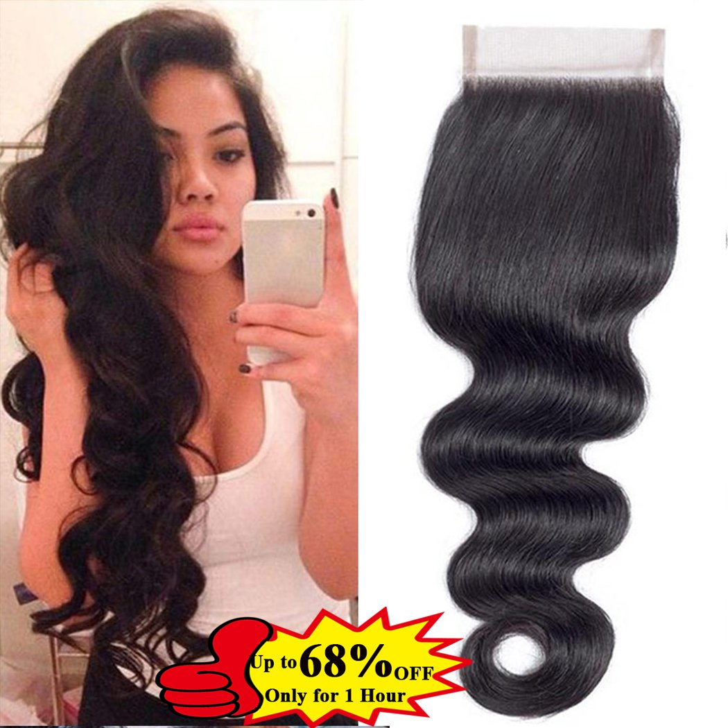QTHAIR 10A Brazilian Body Wave Lace Closure (14inch) 4x4 Free Part Swiss Lace Closure Natural Black Brazilian Virgin Human Hair Top Swiss Lace Closures by QTHAIR (Image #1)