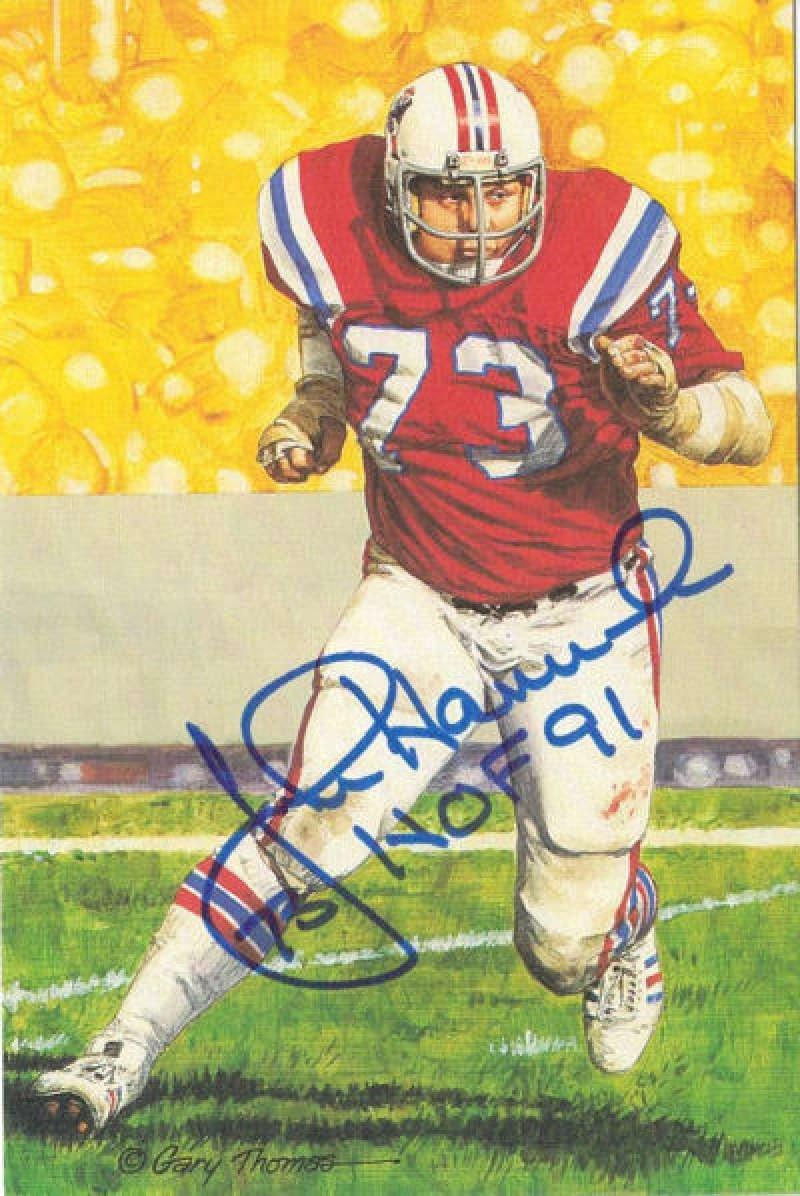 John Hannah Autographed New England Patriots Goal Line Art HOF 91 in Blue