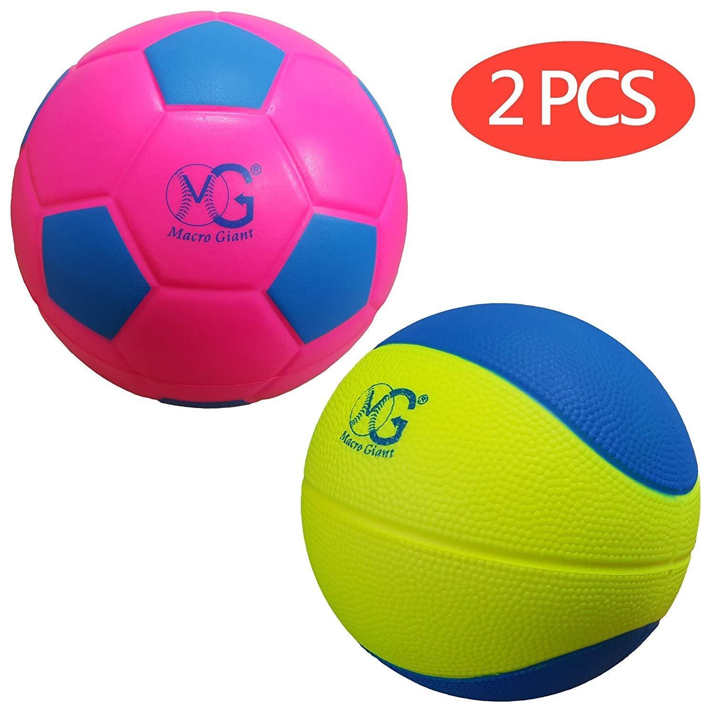Macro Giant 19cm Foam Basketball-Soccer Pack, Set of 1 Soccer & 1 Basketball, Neon Colours, Playground Ball, Kid Sports Toys, Kickball, Beach Activity, School Playground, Kid Toy Gift, Birthday Gift B078Y696GF