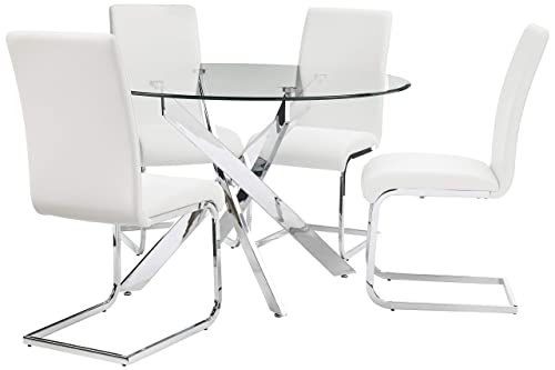 Best Master Furniture Mirage 5 Pcs Glass Top Modern Dining Set, White