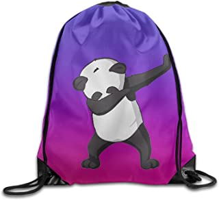 Liuzhis Cute Funny Hip Hop Panda Dabbing Dab Dance Purple Drawstring Bag Gym Backpack