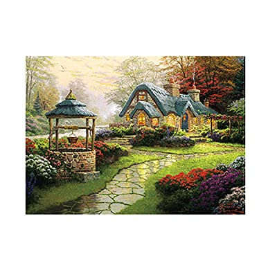 500 Piece Large Jigsaw Puzzle, High-end Paper Picture Country House Beautiful Building Puzzles Game Interesting Personalized Gift Promote Brain Development Puzzles Toys for Kids Adult Teens (B): Toys & Games