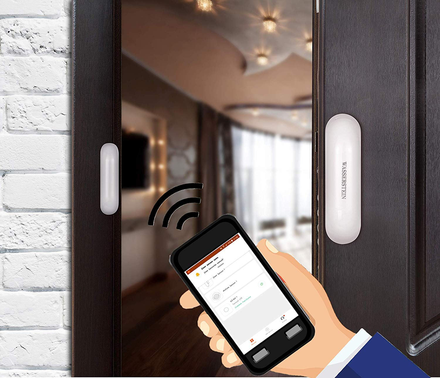 Wasserstein Smart Wi-Fi Enabled Magnetic Door//Window Sensor Plug /& Play Home and Office Security Right at Your fingertips