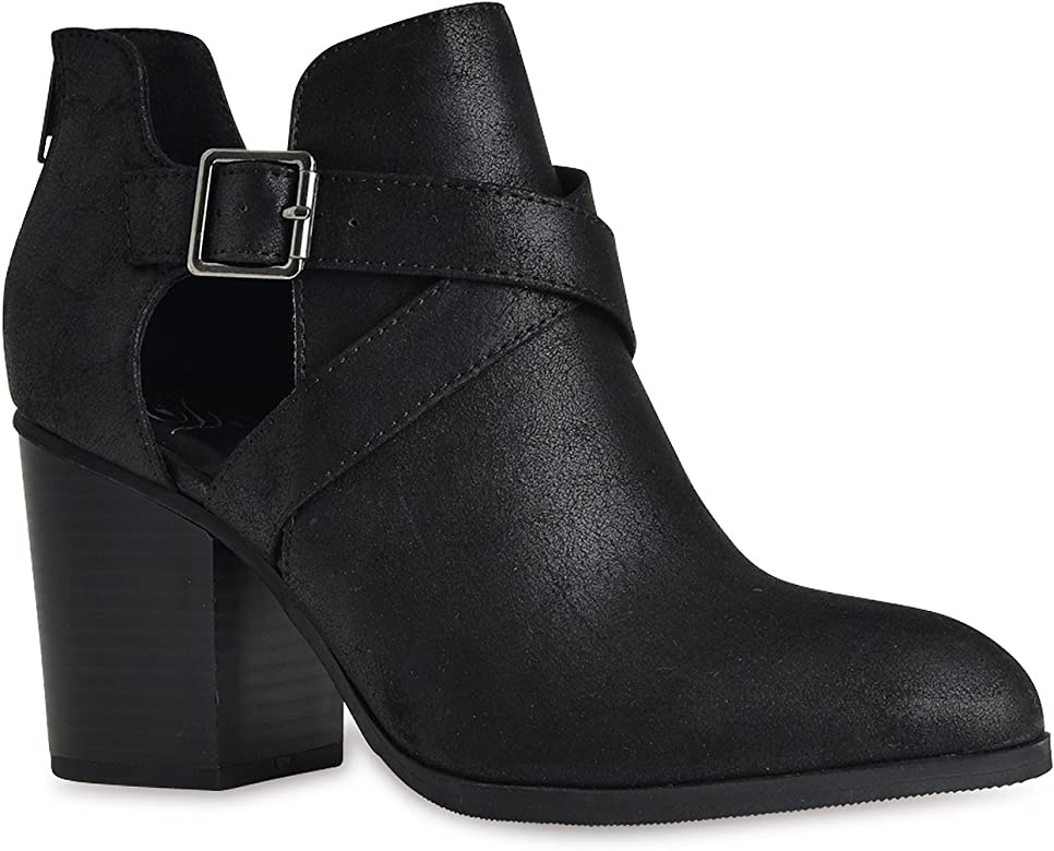 0232ff82409 Soda Scribe-S Black Vegan Leatherette Cut Out Buckle Chunky Heel Ankle  Bootie (5.5