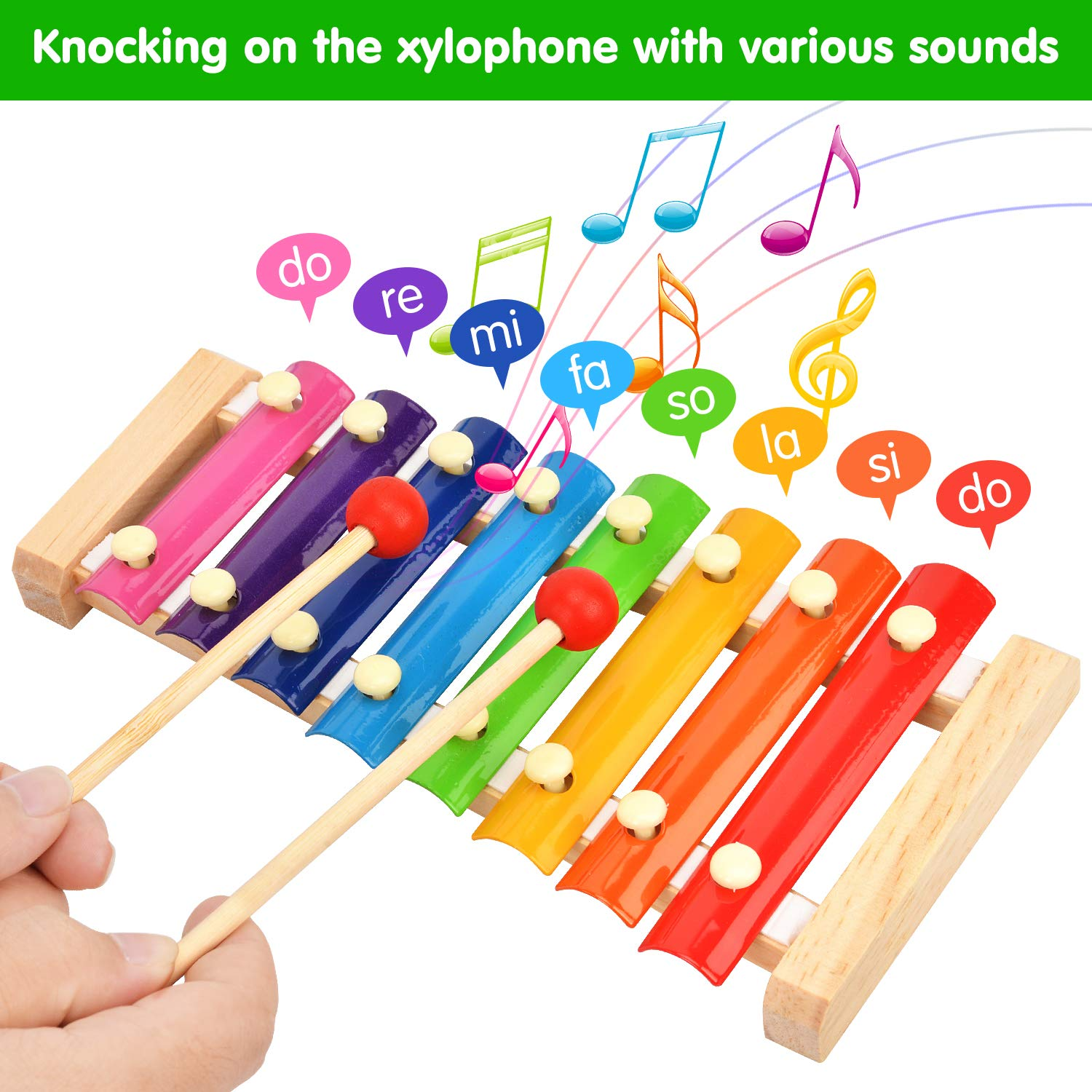 Victostar Musical Instruments with Backpack Baby Wooden Musical Toys Rhythm Percussion Instruments Set for Toddlers Educational Gift