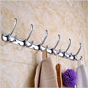 Coat and Hat Hook Rail/Rack with 6 Flared Top Hooks Wall Mount, No Slip Off Towel Racks, Chrome,