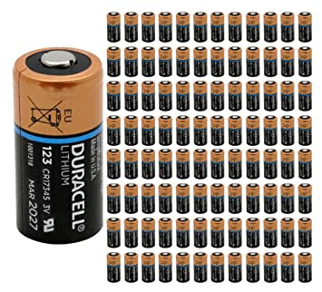 Amazoncom 100x Duracell Dl 123 Battery Photo Ultra Lithium Cr123