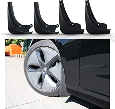 Tepeng 4 Pcs Front Rear Mud Flaps Splash Guards fender Mudguard for Tesla Model 3 2016-2019