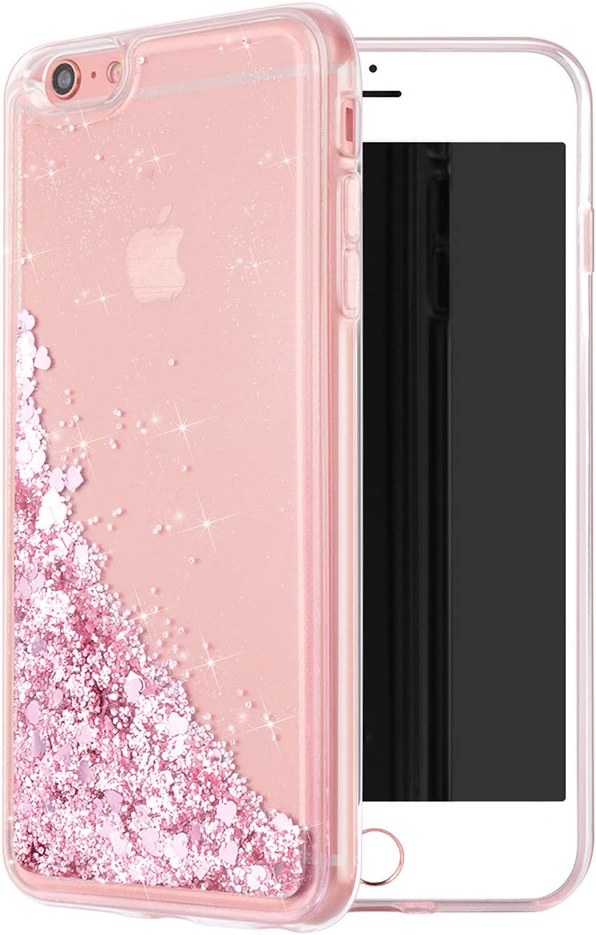 WORLDMOM for iPhone 6 Plus Case,for iPhone 6S Plus Case, Double Layer Design Bling Flowing Liquid Floating Sparkle Colorful Glitter Waterfall TPU Protective Phone Case for iPhone 6 Plus, Rose Gold