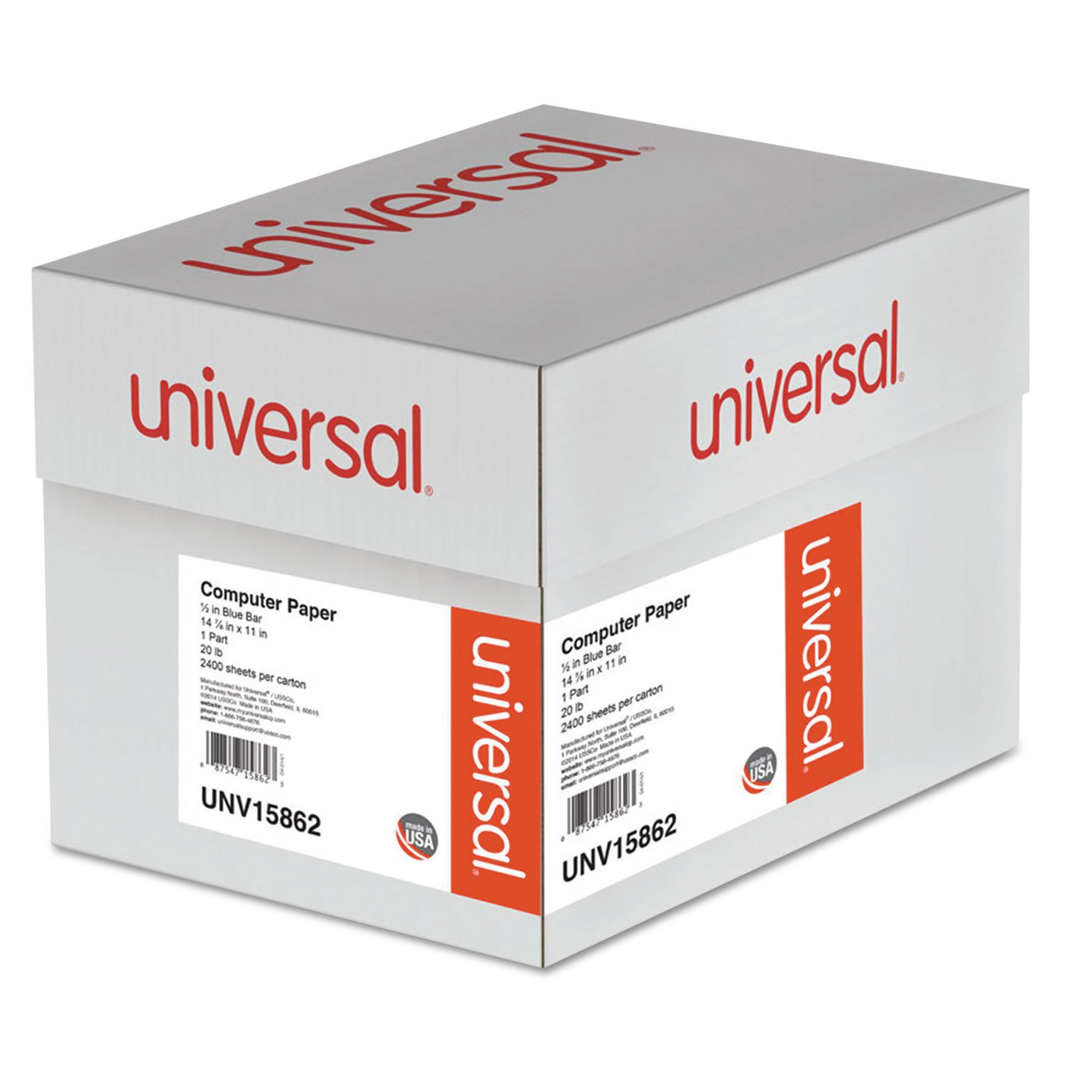 Universal 15862 Blue Bar Computer Paper, 20lb, 14-7/8 x 11, Perforated Margins, 2400 Sheets