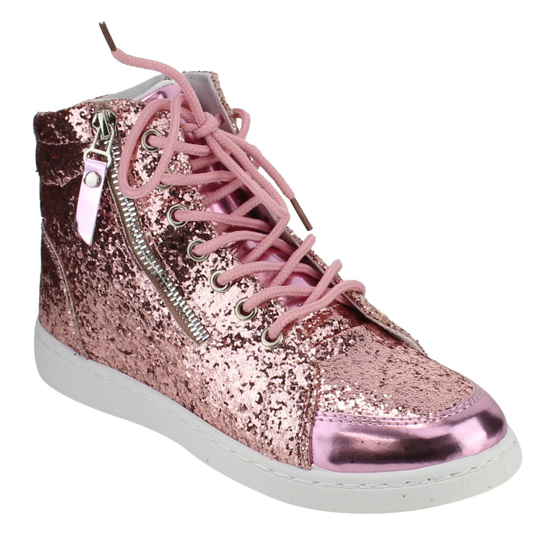 Forever Link Womens Hi Top Glitter Sneakers, Pink 10