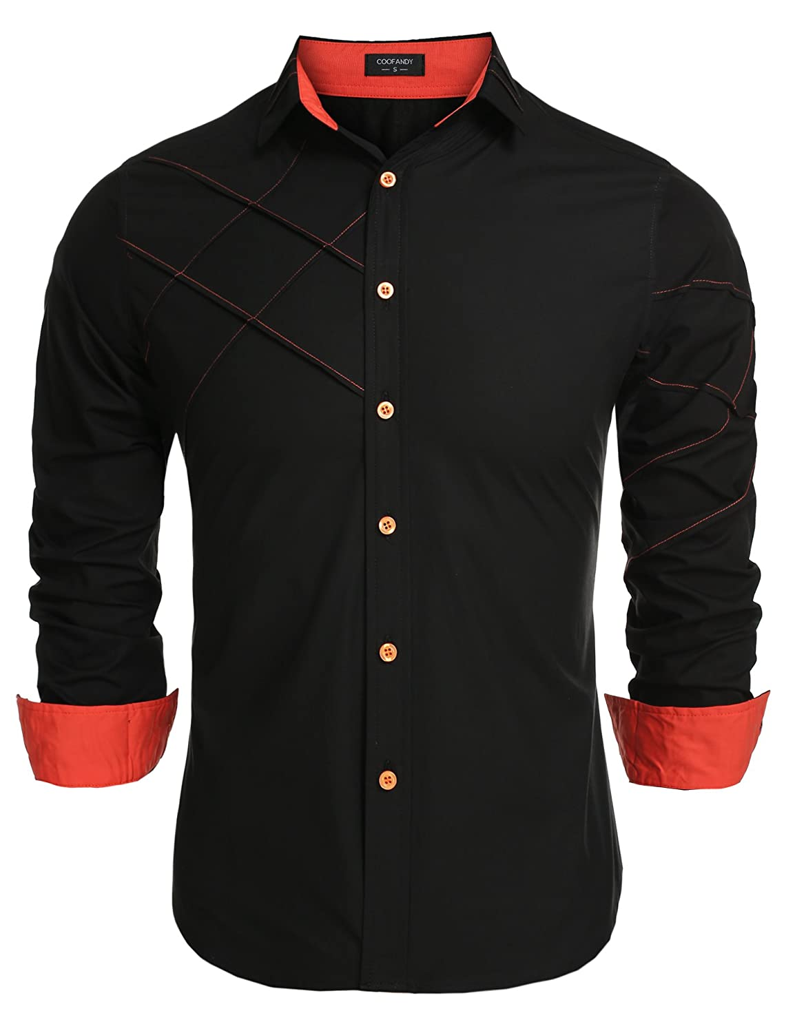 Coofandy Men's Fashion Slim Fit Dress Shirt Long Sleeve Casual ...