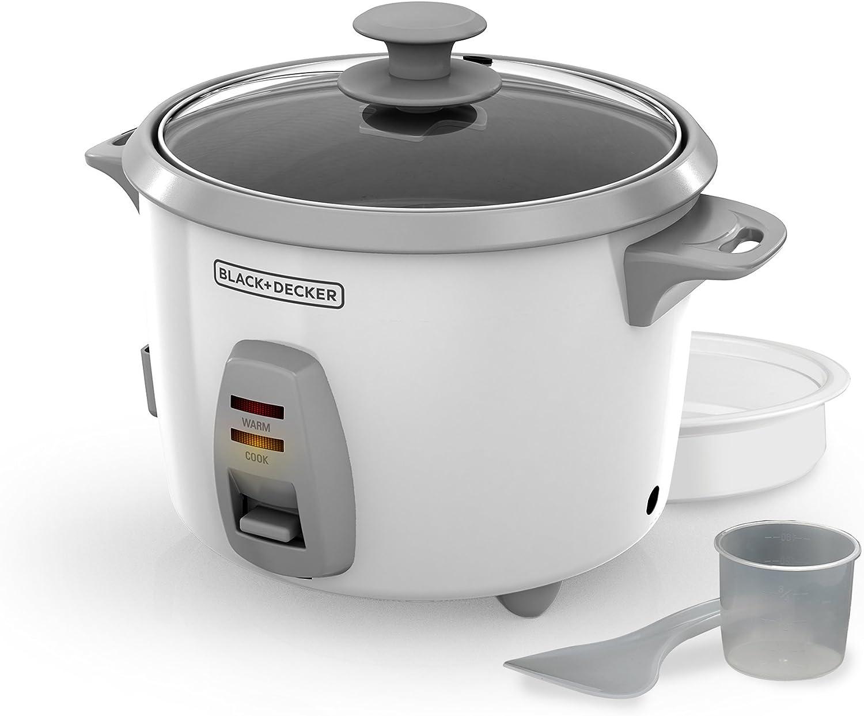 Rice Cooker /& Steamer 16 Cup Black Dishwasher Safe Nonstick Pot And Glass Lid