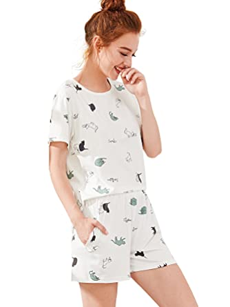 6f23c196c6 SheIn Women's Cartoon Cactus Cat Print Tee & Shorts Pajamas Set Medium ...