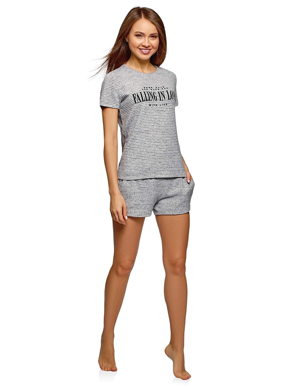 oodji Ultra Damen Gerade Geschnittenes Lounge-T-Shirt mit Flock-Schriftzug