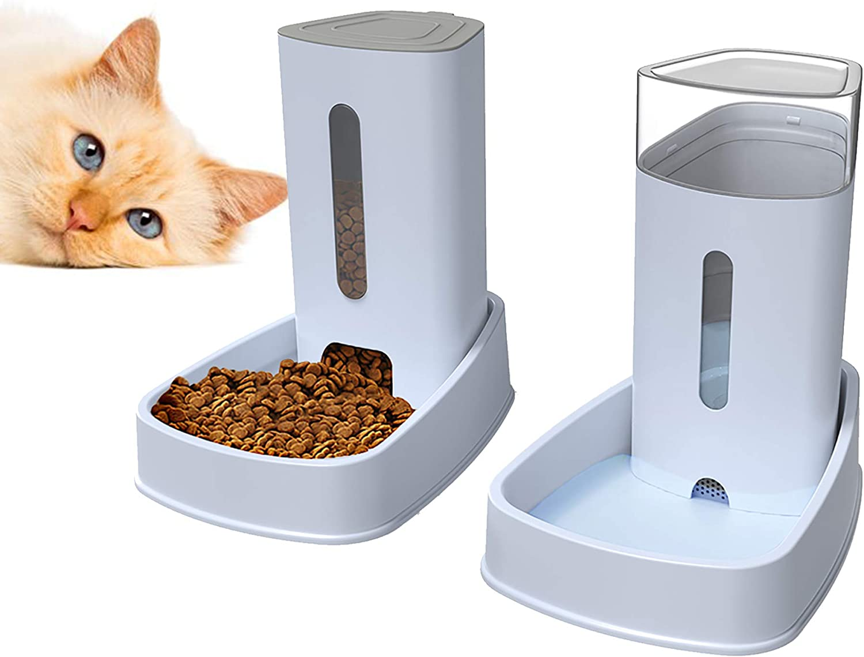LZDMY Dispensador de Comida y Agua para Perros y Gatos 2 Piezas 3.8Lx2 Comederos y Bebederos Automático de Alimentos Fuente de Agua Mascotas Accesorios Grande