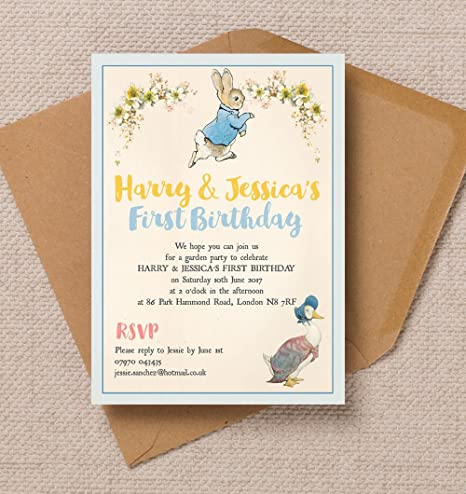 10 Personalised Peter Rabbit Jemima Puddle Duck Birthday Party
