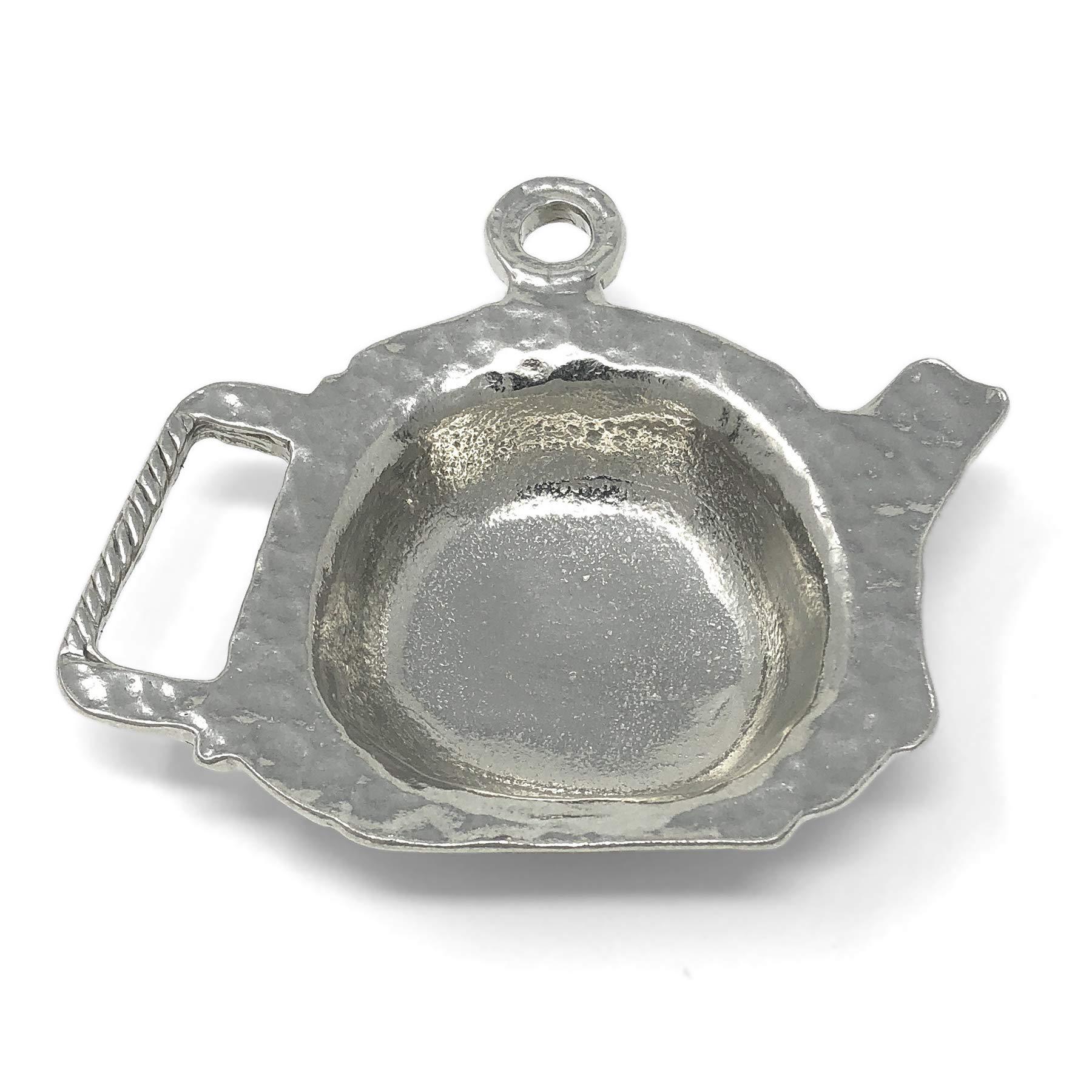 Crosby & Taylor Teapot Shaped Pewter Teabag Holder Trinket Dish