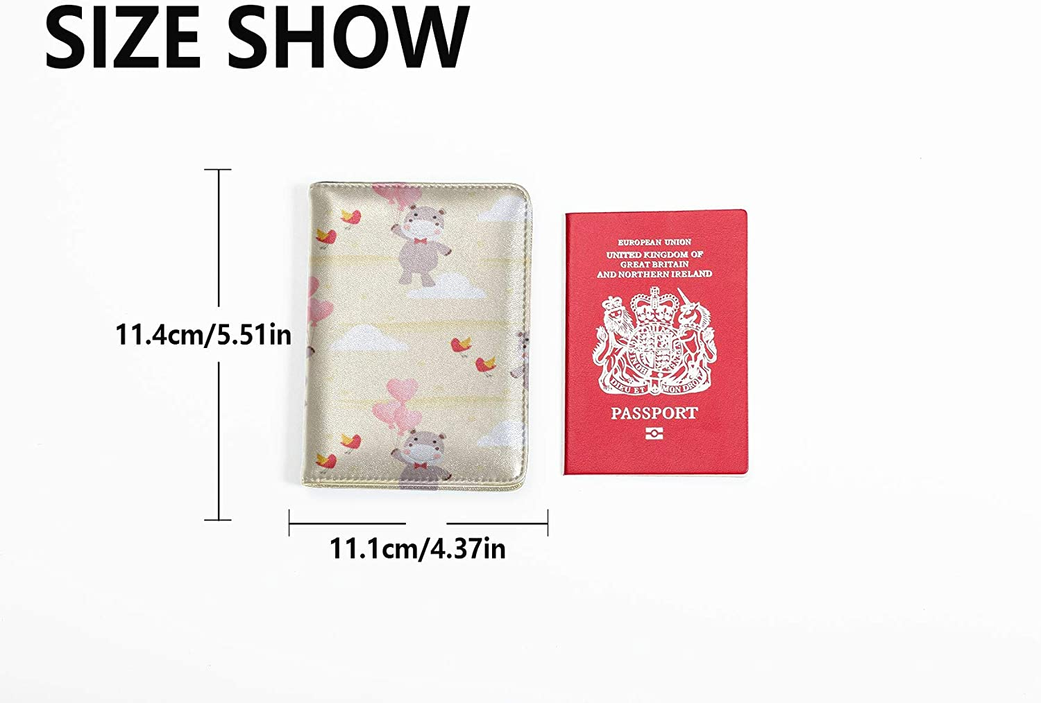 Travel Passport Case Cute Heart Shaped Animal Balloon Love Waterproof Passport Cover Multi Purpose Print Case My Passport Travel Wallets For Unisex 5.51x4.37 Inch