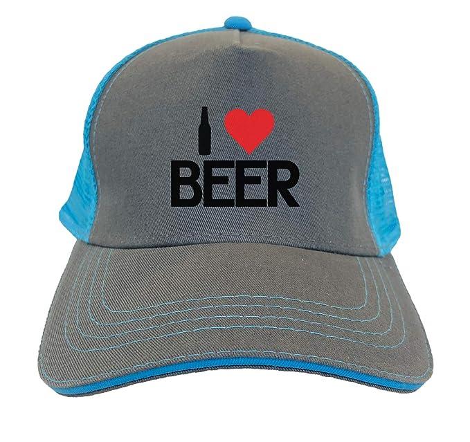 90c24038 I Heart Beer - Love Brew Twill Soft Mesh Trucker Hat (Charcoal/Aqua Blue