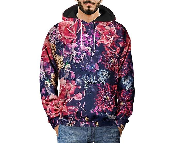 Floral con Capucha Diseño Floral Hombres Vintage Sudadera Estampado en 3D Flor Palm Sudadera Hip Hop. Pasa el ratón por ...