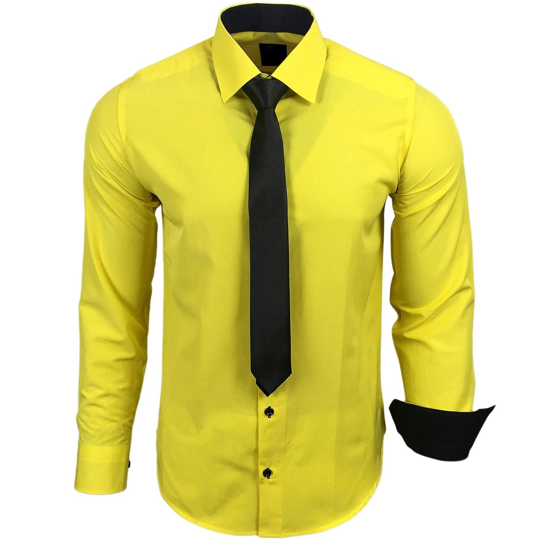 TALLA L. Camisa de la marca Rusty Neal R-44-KR, con corbata. Ideal para negocios, bodas y tiempo libre. Ajustada