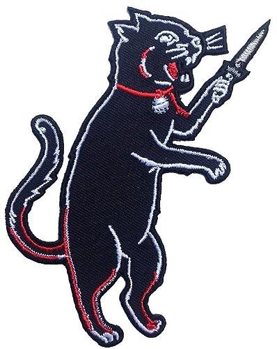 Parche de gato negro con cuchillo, estilo gótico, punk, rock ...