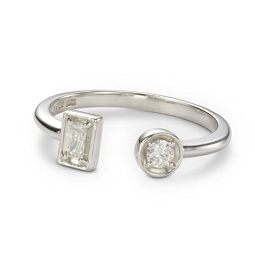 Forever Classic Round and Baguette Moissanite Two Stone Ring by Charles Colvard