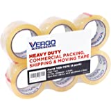Vergo Industrial Heavy Duty Clear Packing Tape 2.7mil for Moving Packaging Shipping and Office (6 PACK)